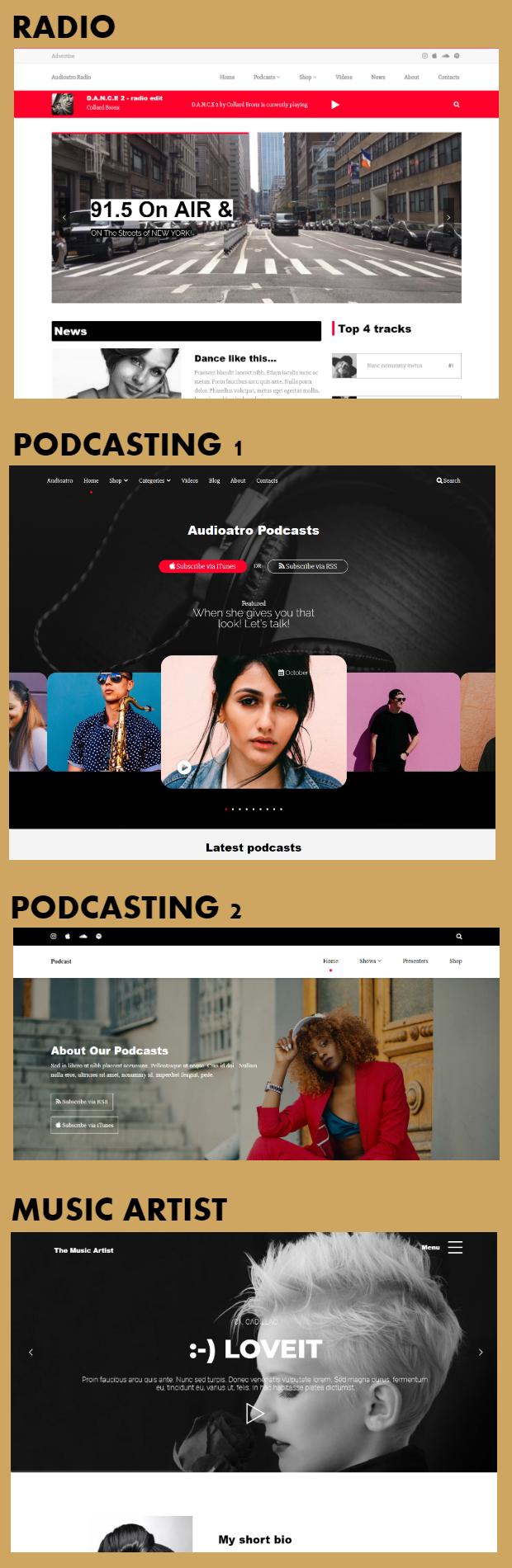 Audioatro – Multipurpose Audio WordPress Theme, Gobase64